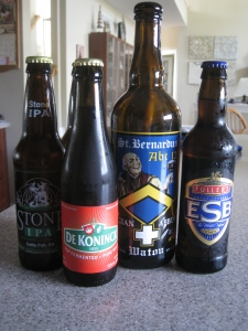 Beer: Fullers, Westmalle, De Konick, and St. Bernardus.