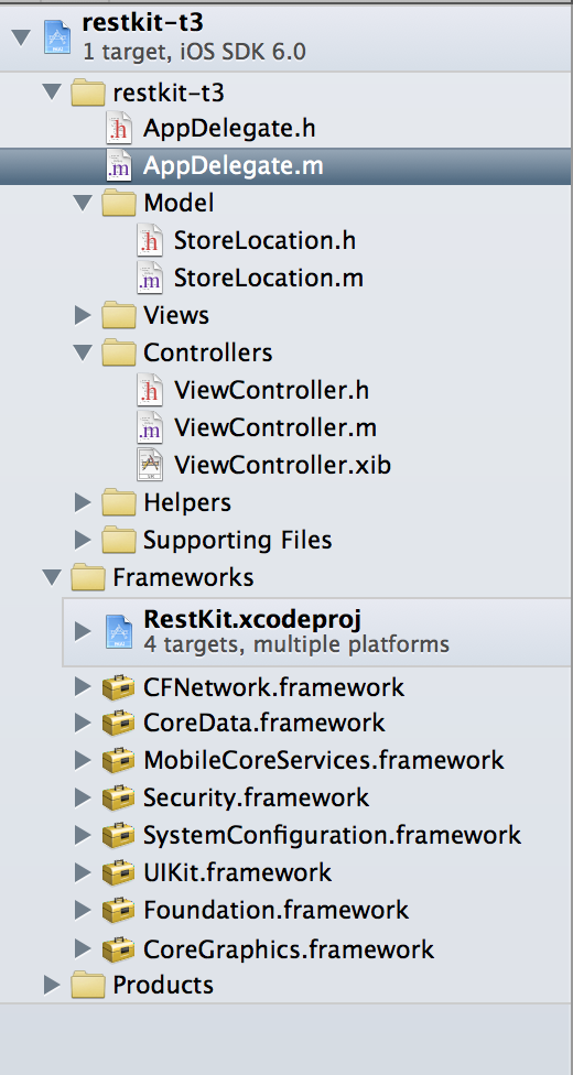 example structure for restkit ios app