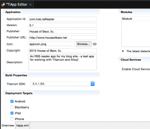 Editing tiapp.xml
