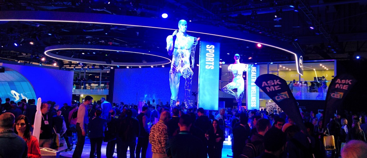 Intel's booth showing mostly PCs and processors. Didn't see too much sports stuff.