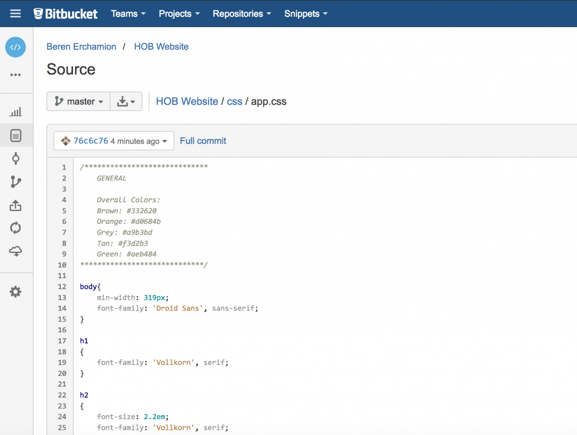 bitbucket web interface