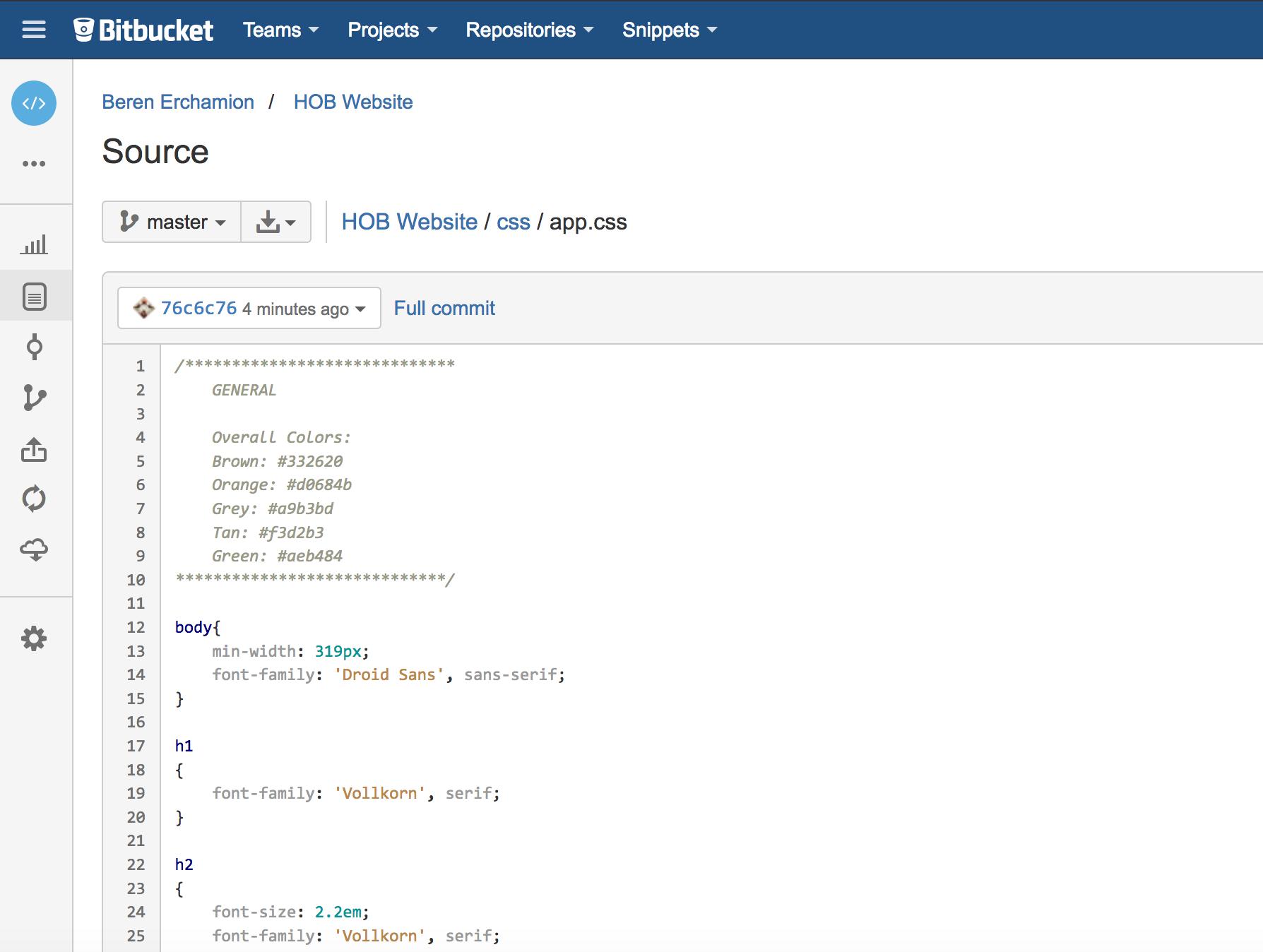 bitbucket web interface